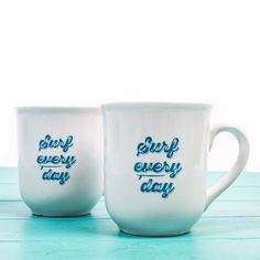 New in, Surf Every Day Mugs at the SurfGirl Beach Boutique - A Treasure Chest for Surf Girls