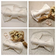 Embroidered bow tie For groom gift White pretied от accessories482