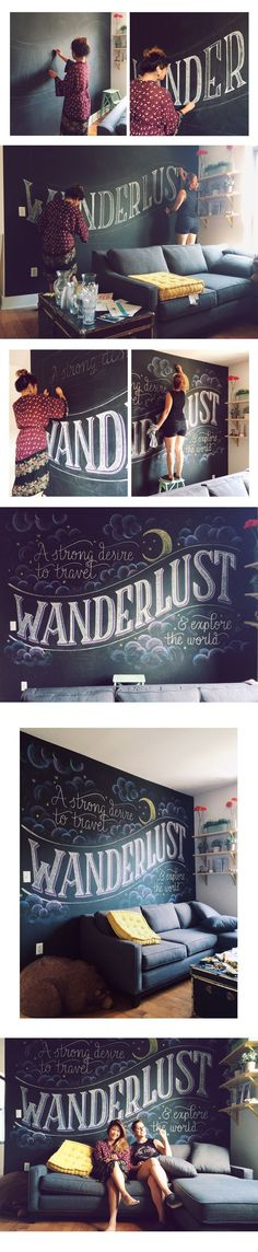 Chalk lettering and illustration done in collaboration with Lauren Hom at her studio in Brooklyn. Chalk Wall, Chalk Board, Chalkboard Lettering, Chalkboard Wall Art, Wall Drawing, Typography Design, Art Boards, Wall Decor, Boy Decor