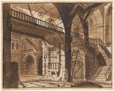 Johan Jakob Biedermann | Prison Interior with Staircase and Balcony. Verso: Prison Interior | Drawings Online | The Morgan Library & Museum