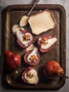 Poached Pears in Barbera Wine with Mascarpone Cream