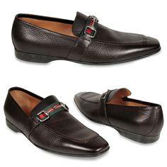 gucci shoes | Gucci shoes Men's Loafers horsebit signature stripe Brown (GGM1536)