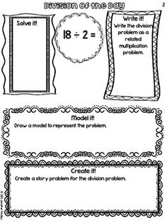 Free division printables for grade! Free Division of the Day- a great way to break a problem down! Teaching Division, Math Division, Teaching Math, Teaching Ideas, Fourth Grade Math, 3rd Grade Classroom, Math Classroom, Classroom Projects, Classroom Ideas