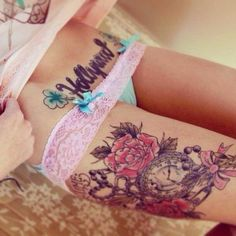 """Rose and clock tattoo. Not sure about the """"Hollywood"""" tattoo. Sexy though. Great Tattoos, Sexy Tattoos, Beautiful Tattoos, Body Art Tattoos, Girl Tattoos, Tattoos For Women, Tatoos, Badass Tattoos, Tattoo Girls"""