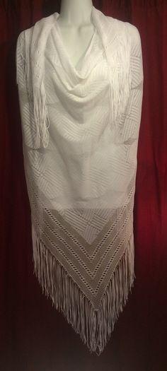 Vintage white fringe shawl wrap boho chic by JewellsBoutique