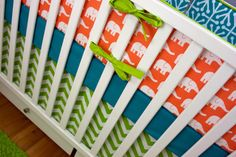 Baby Bedding Crib Set Bumpers/ Sheet/ Skirt/ Minky Blanket (Orange Elephant Baby Crib Set)