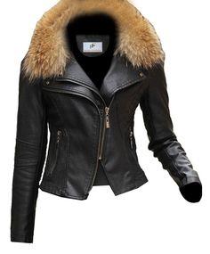 8e86a7bca7b Figura Fashionz Short Body Furry Lambskin Leather Jacket for Women - Black Leather  Jacket with Fur for Women