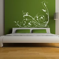Great idea for using wall cling design on a painted accent wall. Bedroom Wall, Bedroom Decor, Master Bedroom, Wall Clings, Art Nouveau, Flowering Vines, Paint Designs, Wall Decals, Wall Art