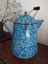 "Antique Primitive Graniteware Coffee Pot Blue Swirl Huge 13 1/2"" Garden"