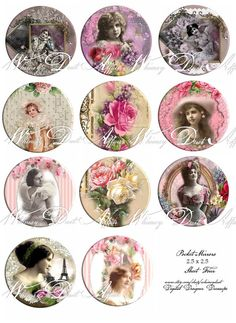 Digital collage sheet Vintage Pocket Mirror Images by whimsydust, $4.69