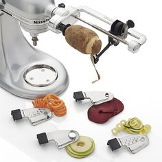 Outfit your KitchenAid mixer with a spiral cutter attachment to slice, peel, core, and spiral cut your fruits and vegetables.