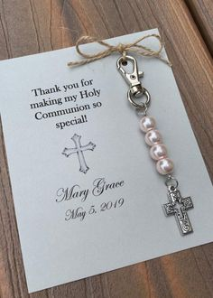 First Holy Communion, Baptism, Christening Favors silver, white or cream pearls with cross Boys First Communion, First Communion Favors, First Communion Invitations, Communion Gifts, First Communion Dresses, Christening Favors, Baptism Favors, Baptism Gifts, First Communion Decorations