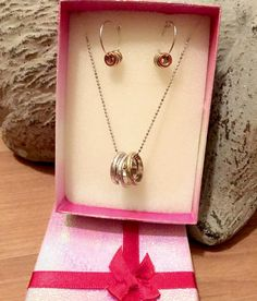 $12.99 Gift Set Trio-tone 3-Rings Necklace and Small Hoop Earrings