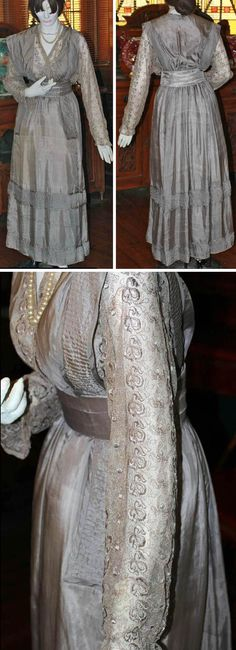 Silk walking dress, Frances Richards (later Simpson), Uralba, Australia, 1912. Originally gray, it has changed over the years and is now beige/taupe. Lace bodice has over-bodice in form of floating silk panel. Four-paneled gathered skirt. Belt of stiffened silk (3 folds of fabric). Frances Richards was 13 when she made this dress. Richmond River Historical Society Inc. via the Australian Dress Register