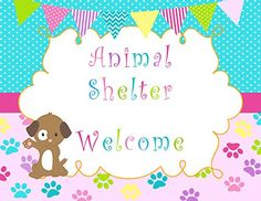 Puppy Pawty Animal Shelter Welcome Sign Birthday Party Decoration Purple Pink Aqua Blue Polka Dots Stripes Chevron Design *** You can get additional details at the image link.