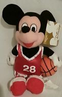 "DISNEY BASKETBALL Sport 7"" MICKEY Mini Plush Retired MINT"