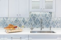 Artistic Tile I Custom Made Claridges In Light Blue And Ice White Kitchen Backsplash