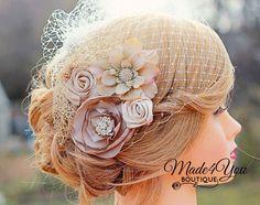 Ivoor Birdcage sluier-ijs bruids Fascinator-bruiloft
