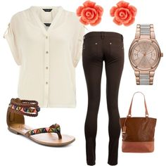 My Version: White Collared Button Up 3/4 Length Sleeve Shirt, Brown Leggings, White Sandals.