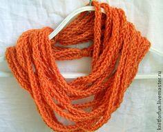 Плетеный шарф-ожерелье MIDI рыжий - рыжий,желтый,шарф ожерелье,шарф снуд