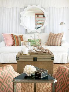 Terrat Elms Interior Design - living rooms - david hicks, la fiorentina, valance, fretwork valance, white valance, white fretwork valance, w...