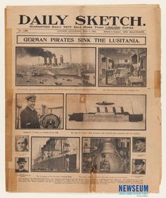 Sinking of the Lusitania: Daily Sketch, 5/8/1915