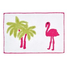 Destinations Pink Flamingo Bath Rug ($30) ❤ liked on Polyvore featuring home, bed & bath, bath, bath rugs, pink bathroom rugs, plush bathroom rugs, plush bath rugs, tropical bath rugs and tropical bathroom rugs
