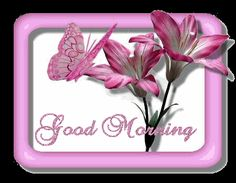 Good morning pink flowers graphic