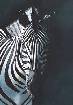 Zebra Original Acrylic Painting Louise De Masi by LouiseDeMasi