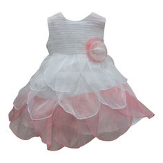 For your free-spirited girl, this dainty dress will surely be a spectacle to any party or occasion. Cute dress bicolored peach and white features a textured sleeveless bodice and a petal multi layered skirt. A cute flowery fabric adornment is attached at