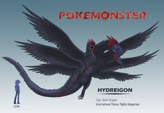 URSD* official analysis Interpol and Ranger reports have continuously described Hydreigon, the fully evolved form of Deino and Zweilous, . Pokemon Images, Pokemon Pictures, Pokemon Fan Art, All Pokemon, Pokemon Breeds, Fanart, Fantasy Dragon, 3d Animation, Creature Design