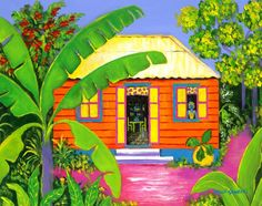 Caribbean Homes, Caribbean Art, Case Creole, Tropical Art, Tropical Beaches, Sibylla Merian, House Colouring Pages, African Art Paintings, Cute Canvas