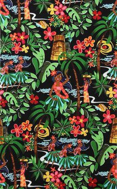 Alexander Henry fabric Leis, Luaus and Alohas Tiki Hawaii Hula Girls Rockabilly Yard. Tiki Hawaii, Hawaii Hula, Pin Up, Textile Patterns, Print Patterns, Kitsch, Laminated Cotton Fabric, Tiki Art, Hawaiian