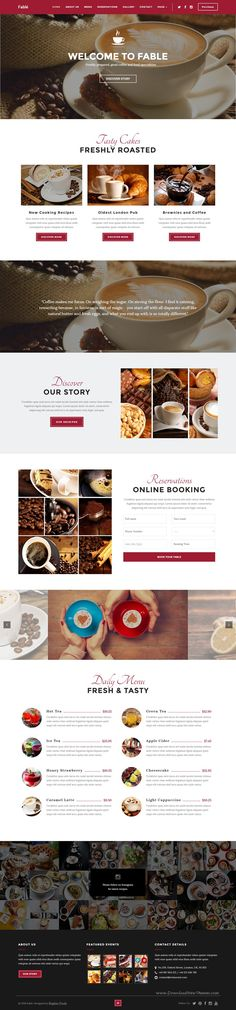 Fable is a premium WordPress theme, designed for food, bakery, #cafe, pub & restaurant #websites. It comes in 4 stunning homepage layouts. #coffeeshop