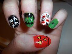 halloween nails pumpkin frankenstein spider eyes