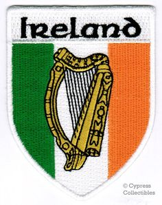 Ireland Shield Patch Irish Harp Flag Embroidered Iron-On Emblem Flag Patches, Biker Patches, Iron On Patches, Tribal Tattoos, Tattoos Skull, Wing Tattoos, Zodiac Tattoos, Sleeve Tattoos, Celtic Symbols And Meanings