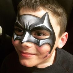 Batman Face Paint .... 3D batman mask I painted on my son #3D #batman #facepaint