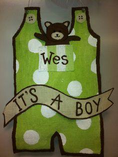 Baby Boy Overalls With Banner Burlap Door by TheBurlapAristocrat