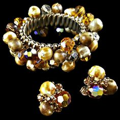 Vogue Bracelet and Earrings Set Cha Cha Bead Expansion Signed