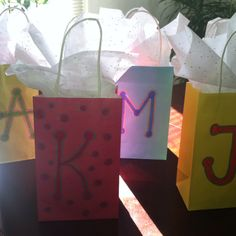 Cute gift bags for birthday party guests!