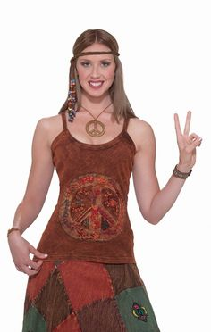 Hippie Peace Tank Top - Great for that groovy peace out 1960s look. This is a brown tie die like spaghetti strap tank top. There is a print peace sign on the front. Great for theme parties or a hot summer day. #60s #yyc #costume