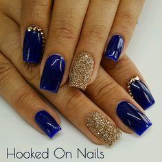 Electric blue madam glam gold swarovski crystals sugar effect nails