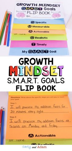 SMART Goals Growth Mindset Flip Book: Help students reach the next level on their growth mindset journey by identifying areas of fixed mindset in their learning and setting SMART goals for improvement. Growth Mindset is a process and setting goals for improvement is an important step in students becoming lifelong learners. #smartgoals #growthmindset #growthmindsetflipbook First Year Teachers, New Teachers, Elementary Teacher, Smart Goal Setting, Setting Goals, Fixed Mindset, Growth Mindset, Goal Setting Template, Routine