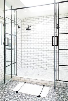 Paned Shower Doors Give This Bathroom An Architectural Feel