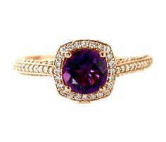 14K Amethyst Ring Amethyst Engagement Ring Diamond Halo 14K 18K Gold Platinum February Birthstone