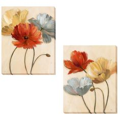 Shop for Nan 'Poppy Palette Revisited' Canvas Art. Get free delivery On EVERYTHING* Overstock - Your Online Art Gallery Store! Get in rewards with Club O! Leaf Wall Art, Floral Wall Art, Arte Floral, Canvas Wall Art, Canvas Prints, Poppy Flower Painting, Flower Painting Canvas, Fabric Painting, Flower Art