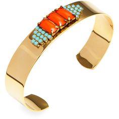 Sandy Hyun Orange & Blue Cuff Bracelet (€32) ❤ liked on Polyvore featuring jewelry, bracelets, bright blue, blue jewelry, 14 karat gold jewelry, cuff bangle bracelet, vintage jewellery and hinged cuff bracelet