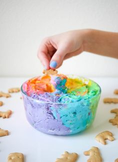 Rainbow Funfetti Dip — This rainbow funfetti dip is so easy to make and is the perfect treat for a girl's birthday party.