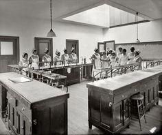 "Washington, D.C., circa 1925. ""Howard University classroom."" On the blackboard: egg recipes."