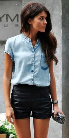 Милена Светлана Годевская 's style: denim top and leather shorts Denim Top, Chambray Top, Chambray Shirts, Denim Blouse, Denim Jeans, Pastel Outfit, Looks Street Style, Outfit Trends, Street Style